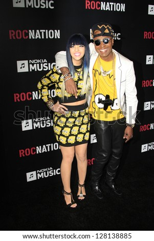 LOS ANGELES - FEB 9:  Jet Phynx and Brawdway of Typical Friday Night arrive at the ROC NATION Annual Pre-Grammy Brunch at the Soho House on February 9, 2013 in West Hollywood, CA - stock photo