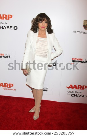 LOS ANGELES - FEB 2:  Joan Collins at the AARP 14th Annual Movies For Grownups Awards Gala at a Beverly Wilshire Hotel on February 2, 2015 in Beverly Hills, CA - stock photo