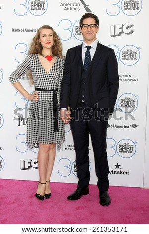 LOS ANGELES - FEB 21:  Joanna Newsom, Andy Samberg at the 30th Film Independent Spirit Awards at a tent on the beach on February 21, 2015 in Santa Monica, CA - stock photo