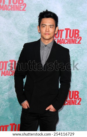 "LOS ANGELES - FEB 18:  John Cho at the ""Hot Tub Time Machine 2"" Los Angeles Premiere at a Village Theater on February 18, 2015 in Westwood, CA - stock photo"