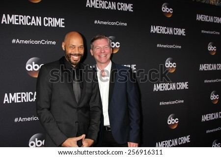 "LOS ANGELES - FEB 28:  John Ridley, Michael MacDonald at the ""American Crime"" Premiere Screening at the The Theatre at Ace Hotel on February 28, 2015 in Los Angeles, CA - stock photo"