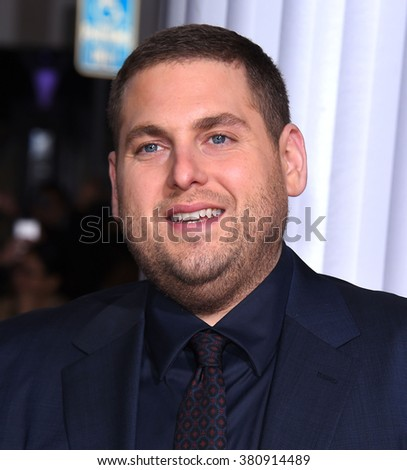 "LOS ANGELES - FEB 01:  Jonah Hill arrives to the ""Hail, Caesar"" World Premiere  on February 01, 2016 in Westwood, CA.                 - stock photo"