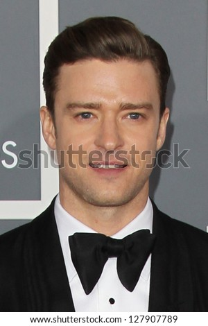 LOS ANGELES - FEB 10:  Justin Timberlake arrives at the 55th Annual Grammy Awards at the Staples Center on February 10, 2013 in Los Angeles, CA - stock photo