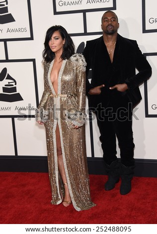 LOS ANGELES - FEB 08:  Kanye West & Kim Kardashian arrives to the Grammy Awards 2015  on February 8, 2015 in Los Angeles, CA                 - stock photo