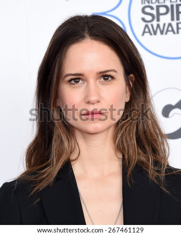 LOS ANGELES - FEB 21:  Katherine Waterston arrives to the 2015 Film Independent Spirit Awards  on February 21, 2015 in Santa Monica, CA                 - stock photo