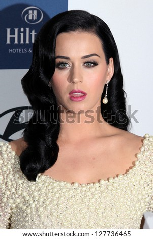 LOS ANGELES - FEB 9:  Katy Perry arrives at the Clive Davis 2013 Pre-GRAMMY Gala at the Beverly Hilton Hotel on February 9, 2013 in Beverly Hills, CA - stock photo