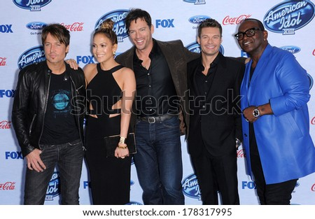 LOS ANGELES - FEB 20:  Keith Urban, Jennifer Lopez, Harry Connick Jr., Ryan Seacrest &  arrives to the American Idol Top 13 Finalists  on February 20, 2014 in West Hollywood, CA                 - stock photo