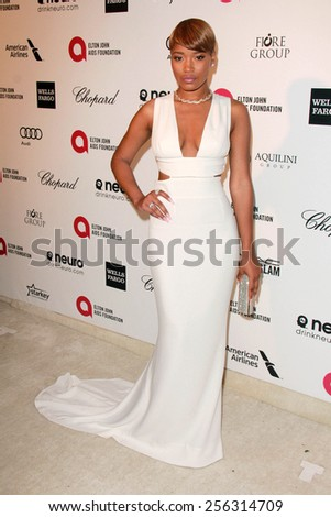 LOS ANGELES - FEB 22:  Keke Palmer at the Elton John Oscar Party 2015 at the City Of West Hollywood Park on February 22, 2015 in West Hollywood, CA - stock photo