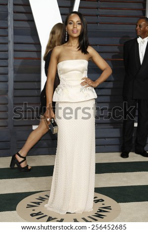 LOS ANGELES - FEB 22:  Kerry Washington at the Vanity Fair Oscar Party 2015 at the Wallis Annenberg Center for the Performing Arts on February 22, 2015 in Beverly Hills, CA - stock photo