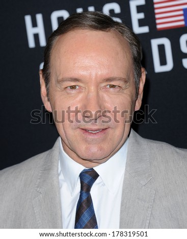 "LOS ANGELES - FEB 13:  Kevin Spacey the  ""House Of Cards"" Season 2 Premiere  on February 13, 2014 in West Hollywood, CA                 - stock photo"