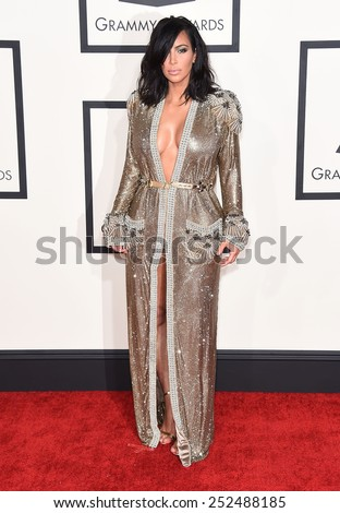 LOS ANGELES - FEB 08:  Kim Kardashian arrives to the Grammy Awards 2015  on February 8, 2015 in Los Angeles, CA                 - stock photo
