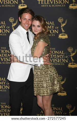 LOS ANGELES - FEB 24:  Lachlan Buchanan, Hunter King at the Daytime Emmy Creative Arts Awards 2015 at the Universal Hilton Hotel on April 24, 2015 in Los Angeles, CA - stock photo
