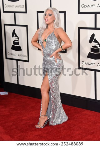 LOS ANGELES - FEB 08:  Lady Gaga arrives to the Grammy Awards 2015  on February 8, 2015 in Los Angeles, CA                 - stock photo