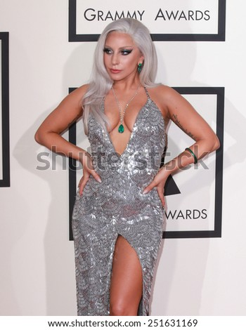 LOS ANGELES - FEB 8:  Lady Gaga at the 57th Annual GRAMMY Awards Arrivals at a Staples Center on February 8, 2015 in Los Angeles, CA - stock photo