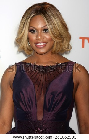 LOS ANGELES - FEB 6:  Laverne Cox at the 46th NAACP Image Awards Arrivals at a Pasadena Convention Center on February 6, 2015 in Pasadena, CA - stock photo