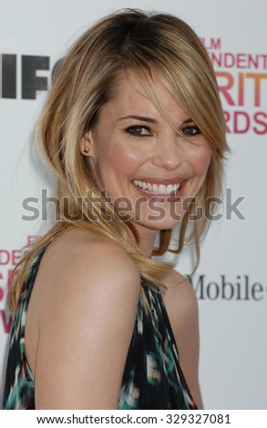 LOS ANGELES - FEB 23 - Leslie Bibb arrives at the 2013 Independent Spirit Awards  on February 23, 2013 in Los Angeles, CA
