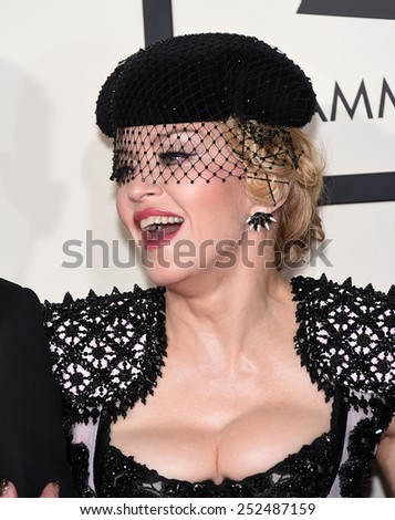 LOS ANGELES - FEB 08:  Madonna arrives to the Grammy Awards 2015  on February 8, 2015 in Los Angeles, CA                 - stock photo