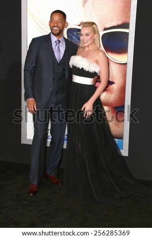 "LOS ANGELES - FEB 24:  Margot Robbie, Will Smith at the ""Focus"" Premiere at  TCL Chinese Theater on February 24, 2015 in Los Angeles, CA - stock photo"