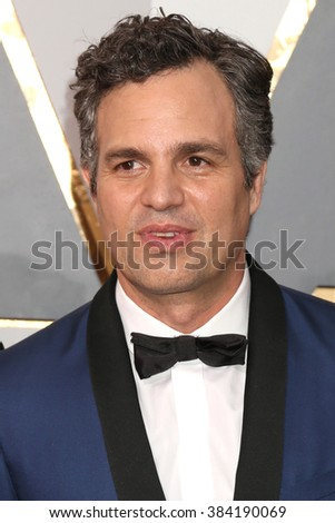 LOS ANGELES - FEB 28:  Mark Ruffalo at the 88th Annual Academy Awards - Arrivals at the Dolby Theater on February 28, 2016 in Los Angeles, CA - stock photo