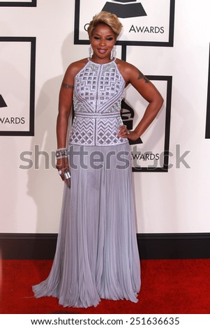 LOS ANGELES - FEB 8:  Mary J. Blige at the 57th Annual GRAMMY Awards Arrivals at a Staples Center on February 8, 2015 in Los Angeles, CA - stock photo