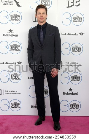 LOS ANGELES - FEB 21:  Matt Bomer at the 30th Film Independent Spirit Awards at a tent on the beach on February 21, 2015 in Santa Monica, CA - stock photo