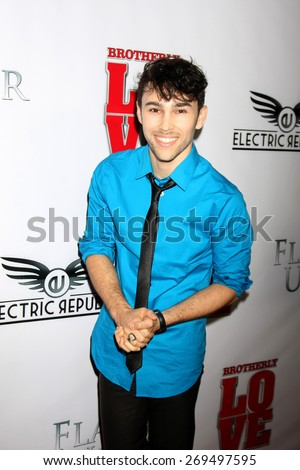 """LOS ANGELES - FEB 13:  Max Schneider at the """"Brotherly Love"""" LA Premiere at the Silver Screen Theater at the Pacific Design Center on April 13, 2015 in West Hollywood, CA - stock photo"""