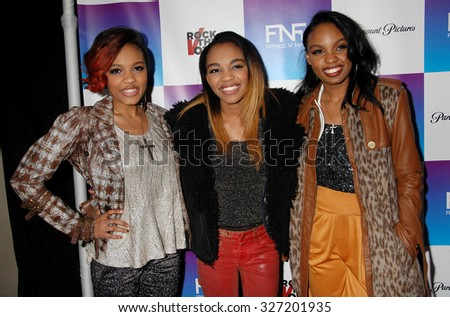 LOS ANGELES - FEB 8 - McClain Sisters arrives at the 16th Annual Friends N Family Pre Grammy Party on February 8, 2013 in Los Angeles, CA              - stock photo