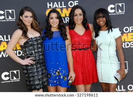 LOS ANGELES - FEB 9 - McKayla Maroney, Aly Raisman, Jordyn Wieber and Gabby Douglas arrives at the 13rd Annual Cartoon Network Hall Of Game Awards on February 9, 2013 in Los Angeles, CA              - stock photo