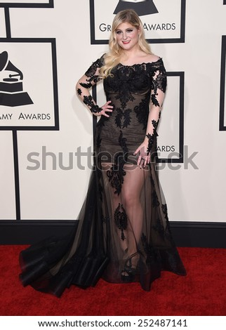 LOS ANGELES - FEB 08:  Meghan Trainor arrives to the Grammy Awards 2015  on February 8, 2015 in Los Angeles, CA                 - stock photo