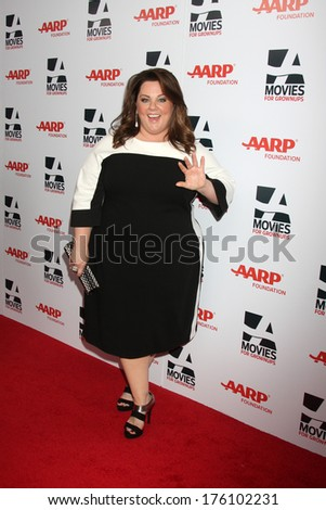 """LOS ANGELES - FEB 10:  Melissa McCarthy at the AARP """"Movies for Grownups"""" Awards at Beverly Wilshire Hotel on February 10, 2014 in Los Angeles, CA - stock photo"""