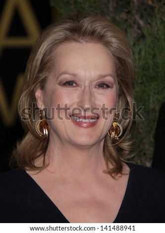 LOS ANGELES - FEB 6:  MERYL STREEP arrives to the 2012 Academy Awards Nominee Luncheon  on Feb 6, 2012 in Beverly Hills, CA - stock photo