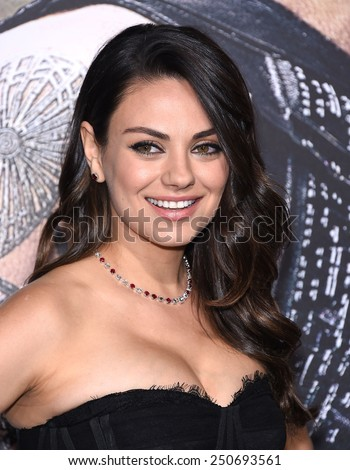 "LOS ANGELES - FEB 02:  Mila Kunis arrives to the ""Jupiter Ascending"" Los Angeles Premiere  on February 2, 2015 in Hollywood, CA                 - stock photo"
