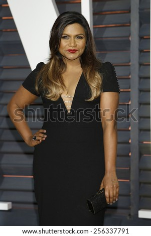 LOS ANGELES - FEB 22:  Mindy Kaling at the Vanity Fair Oscar Party 2015 at the Wallis Annenberg Center for the Performing Arts on February 22, 2015 in Beverly Hills, CA - stock photo