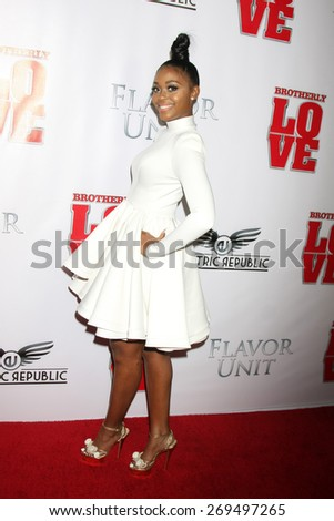 """LOS ANGELES - FEB 13:  Nafessa Williams at the """"Brotherly Love"""" LA Premiere at the Silver Screen Theater at the Pacific Design Center on April 13, 2015 in West Hollywood, CA - stock photo"""