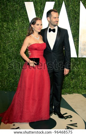 LOS ANGELES - FEB 26:  Natalie Portman; Benjamin Millepied arrive at the 2012 Vanity Fair Oscar Party  at the Sunset Tower on February 26, 2012 in West Hollywood, CA - stock photo
