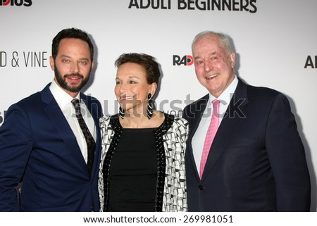 "LOS ANGELES - FEB 15:  Nick Kroll, Lynn Korda Kroll, Jules B. Kroll at the ""Adult Beginners"" Los Angeles Premiere at the ArcLight Hollywood Theaters on April 15, 2015 in Los Angeles, CA - stock photo"