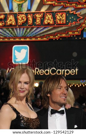 LOS ANGELES - FEB 24:  Nicole Kidman, Keith Urban arrive at the 85th Academy Awards presenting the Oscars at the Dolby Theater on February 24, 2013 in Los Angeles, CA - stock photo