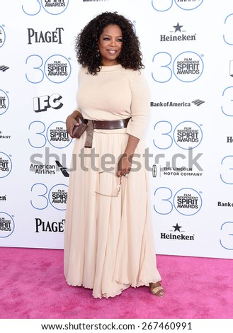LOS ANGELES - FEB 21:  Oprah Winfrey arrives to the 2015 Film Independent Spirit Awards  on February 21, 2015 in Santa Monica, CA                 - stock photo