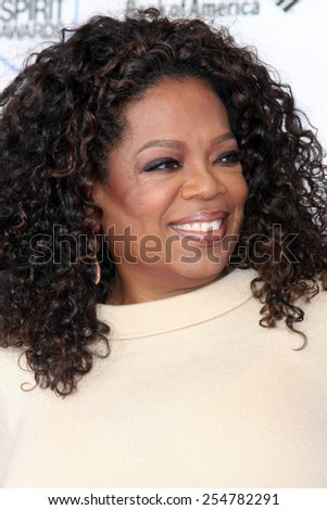 LOS ANGELES - FEB 21:  Oprah Winfrey at the 30th Film Independent Spirit Awards at a tent on the beach on February 21, 2015 in Santa Monica, CA - stock photo