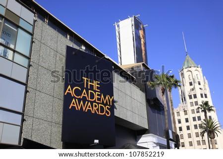 LOS ANGELES - FEB 24: Oscar preparations at the Kodak Theater on February 24, 2012 in Hollywood, Los Angeles, California - stock photo