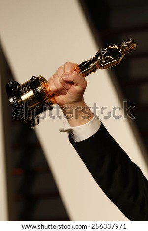 LOS ANGELES - FEB 22:  Oscar Statue at the Vanity Fair Oscar Party 2015 at the Wallis Annenberg Center for the Performing Arts on February 22, 2015 in Beverly Hills, CA - stock photo