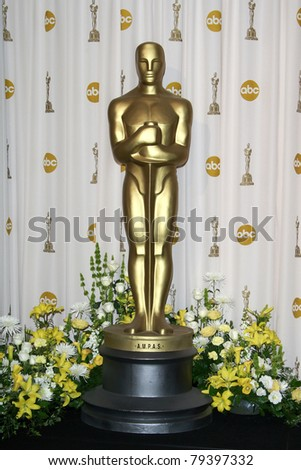 LOS ANGELES - FEB 24: Oscar statue in the press room at the Oscars held at the Kodak Theater in Los Angeles, California on February 24, 2008 - stock photo
