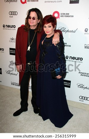 LOS ANGELES - FEB 22:  Ozzy Osbourne, Sharon Osbourne at the Elton John Oscar Party 2015 at the City Of West Hollywood Park on February 22, 2015 in West Hollywood, CA - stock photo