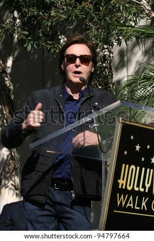 LOS ANGELES - FEB 9:  Paul McCartney at the Hollywood Walk of Fame Ceremony for Paul McCartney at Capital Records Building on February 9, 2012 in Los Angeles, CA
