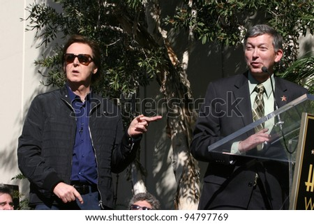 LOS ANGELES - FEB 9:  Paul McCartney, Leron Gubler at the Hollywood Walk of Fame Ceremony for Paul McCartney at Capital Records Building on February 9, 2012 in Los Angeles, CA