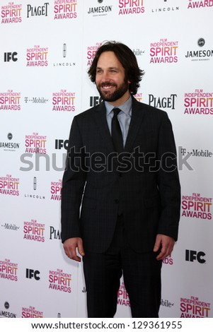 LOS ANGELES - FEB 23:  Paul Rudd attends the 2013 Film Independent Spirit Awards at the Tent on the Beach on February 23, 2013 in Santa Monica, CA