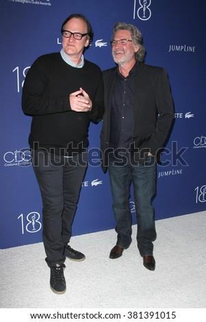 LOS ANGELES - FEB 23:  Quentin Tarantino, Kurt Russell at the 18th Costume Designers Guild Awards at the Beverly Hilton Hotel on February 23, 2016 in Beverly Hills, CA - stock photo