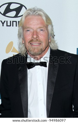 LOS ANGELES - FEB 11:  Richard Branson arrives at the Pre-Grammy Party hosted by Clive Davis at the Beverly Hilton Hotel on February 11, 2012 in Beverly Hills, CA - stock photo