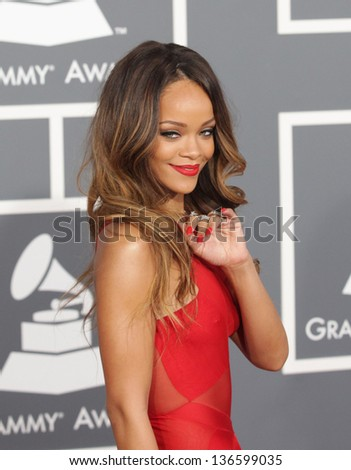 LOS ANGELES - FEB 10:  Rihanna arrives to the Grammy Awards 2013  on February 10, 2013 in Los Angeles, CA. - stock photo