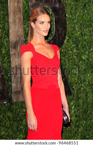 LOS ANGELES - FEB 26:  Rosie Huntington-Whiteley arrives at the 2012 Vanity Fair Oscar Party  at the Sunset Tower on February 26, 2012 in West Hollywood, CA - stock photo